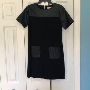 Faux Leather Little Black Dress
